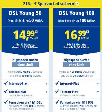 1&1 DSL Young für junge Leute mit Rabatt