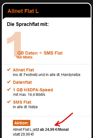 1GB Allnet Flat Aktion bei congstar