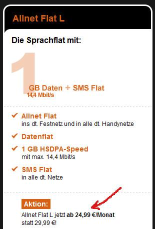 1GB Allnet Flat Aktion bei congstar