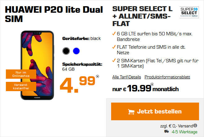 Huawei P20 Lite Super Select Allnet Flat Vertrag