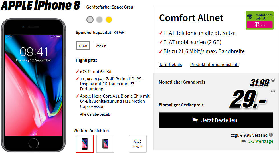 media markt iphone 8 mit 2gb telekom allnet flat vertrag. Black Bedroom Furniture Sets. Home Design Ideas