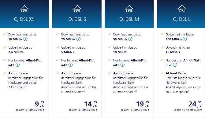 o2 DSL XS Festnetz Allnet-Flat