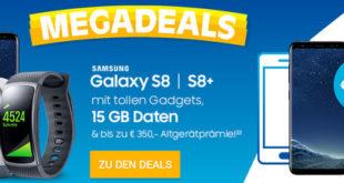 Sparhandy Megadeal - o2 Free 15 mit Samsung Galaxy S8 für 1 € Handy Zuzahlung
