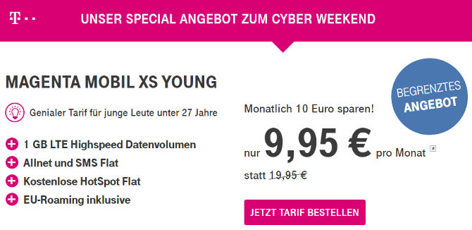 cyber weekend telekom magenta mobil xs young vertrag f r 9 95. Black Bedroom Furniture Sets. Home Design Ideas